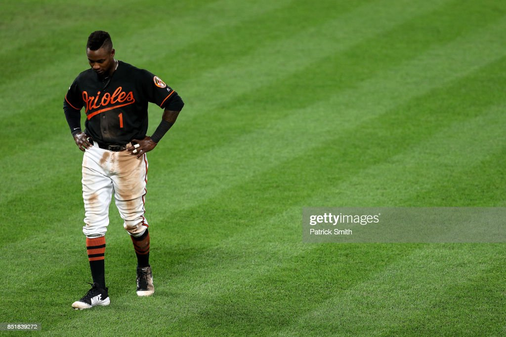 Tim Beckham #1 of the Baltimore Orioles looks on after the seventh inning against the Tampa Bay Rays at Oriole Park at Camden Yards on September 22, 2017 in Baltimore, Maryland.