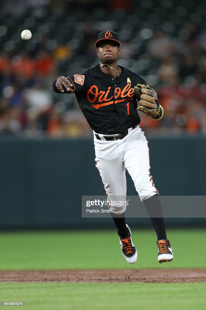 Tim Beckham #1 of the Baltimore Orioles makes a play during the third inning against the Toronto Blue Jays at Oriole Park at Camden Yards on September 1, 2017 in Baltimore, Maryland.