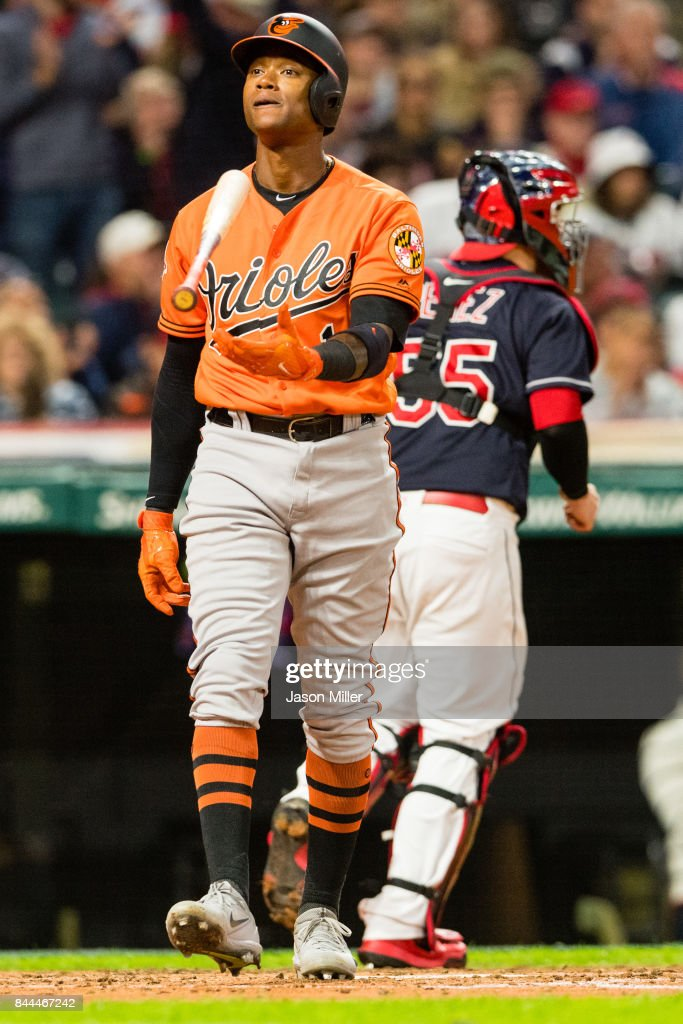 Tim Beckham #1 of the Baltimore Orioles reacts after striking out to end the top of the fifth inning against the Cleveland Indians at Progressive Field on September 8, 2017 in Cleveland, Ohio.