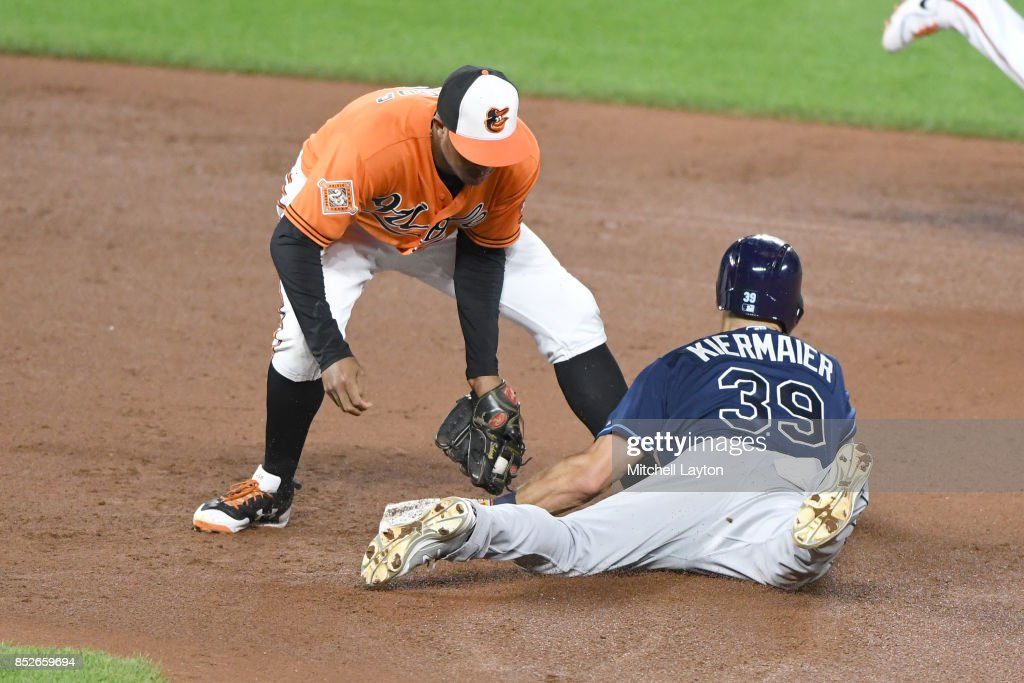 Tim Beckham #1 of the Baltimore Orioles tags out Kevin Kiermaier #39 of the Tampa Bay Rays trying to steal second base in the sixth inning during a baseball game against the Tampa Bay Rays at Oriole Park at Camden Yards on September 23, 2017 in Baltimore, Maryland.