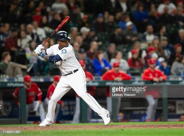 Tim Beckham of the Seattle Mariners during an atbat in the eighth inning against the Los Angeles Angels of Anaheim at TMobile Park on April 1 2019 in...
