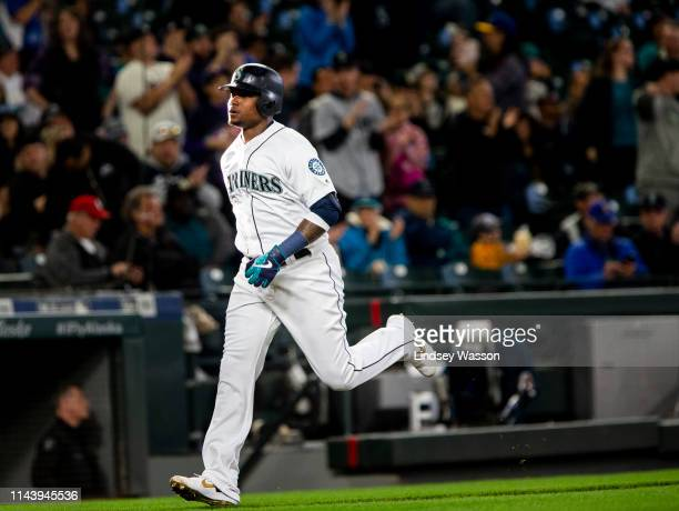 Tim Beckham of the Seattle Mariners rounds third after hitting a home run against Oakland Athletics in the second inning at TMobile Park on May 14...