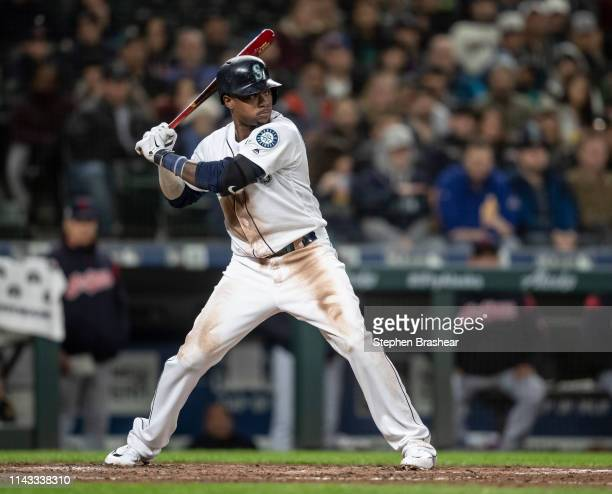Tim Beckham of the Seattle Mariners waits for a pitch during an atbat in a game against the Cleveland Indians at TMobile Park on April 16 2019 in...