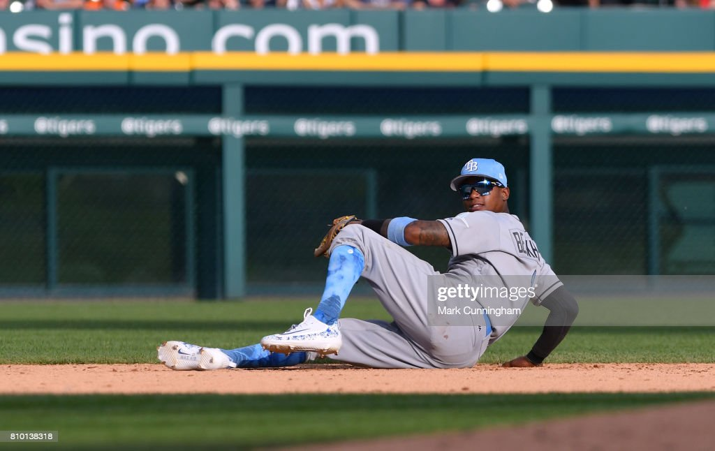Tim Beckham #1 of the Tampa Bay Rays looks on after diving fro a ball during the game against the Detroit Tigers while wearing a special blue jersey, socks and hat for prostate cancer awareness on Father's Day Weekend at Comerica Park on June 17, 2017 in Detroit, Michigan. The Rays defeated the Tigers 3-2.