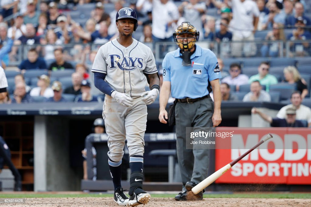 Tim Beckham #1 of the Tampa Bay Rays reacts after striking out in the sixth inning of a game against the New York Yankees at Yankee Stadium on July 29, 2017 in the Bronx borough of New York City. The Yankees defeated the Rays 5-4.