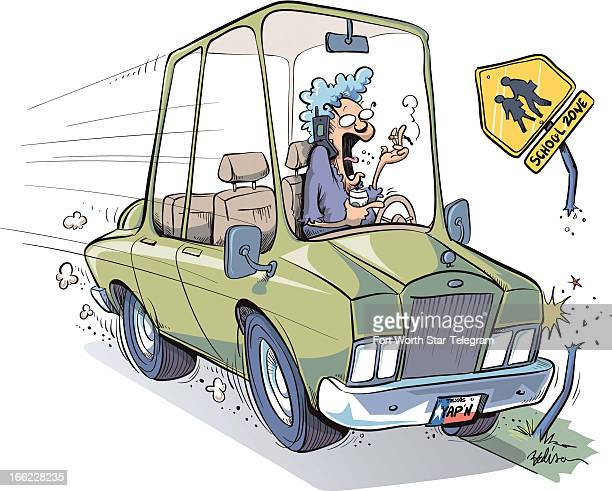 Tim Bedison color cartoon of careless driver on a crash course with roadsafety sign because she is destracted by smoking drinking and talking on...
