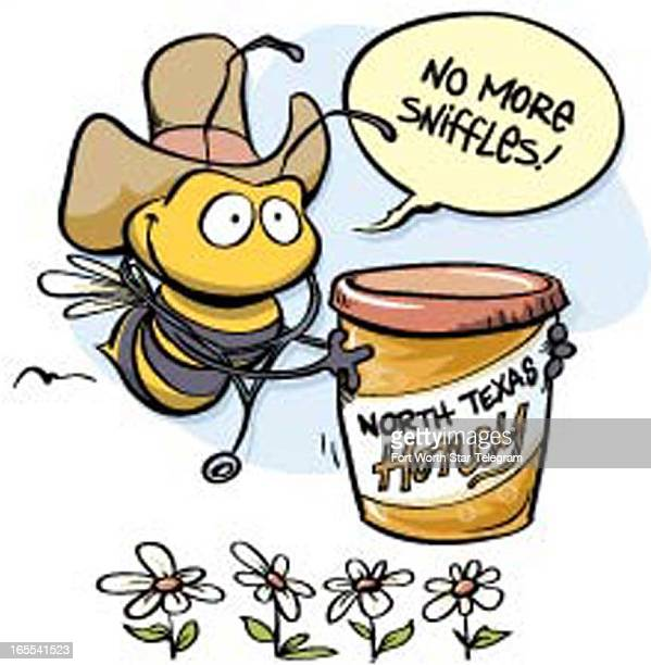 Tim Bedison color illustration of bee in cowboy hat holding a jar of local honey and saying 'No more sniffles' Illustration relates to idea that...