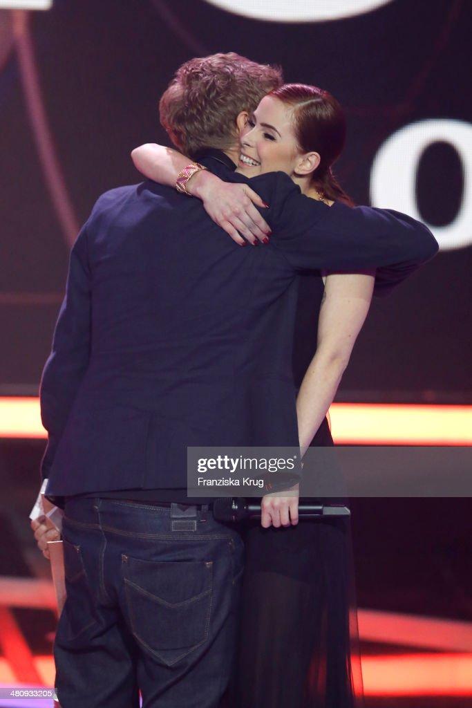 Tim Bendzko and Lena Meyer-Landrut attend the Echo Award 2014 show on March 27, 2014 in Berlin, Germany.