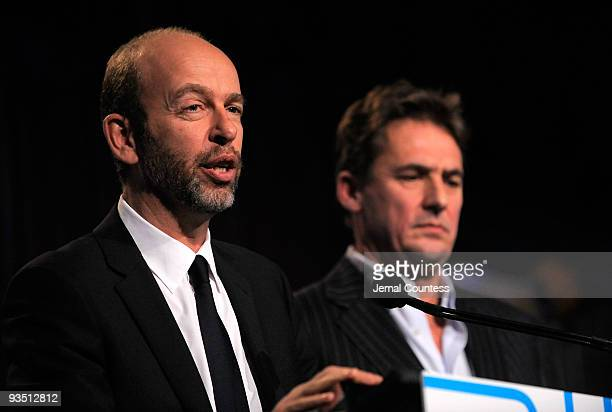 Tim Bevan and Eric Fellner of Working Title speak onstage at IFP's 19th Annual Gotham Independent Film Awards at Cipriani Wall Street on November 30...