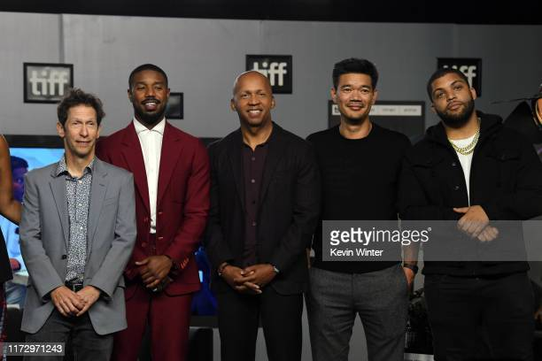 "Tim Blake Nelson, Michael B. Jordan, Bryan Stevenson, Destin Daniel Cretton, and O'Shea Jackson Jr. Attend the ""Just Mercy"" press conference during..."