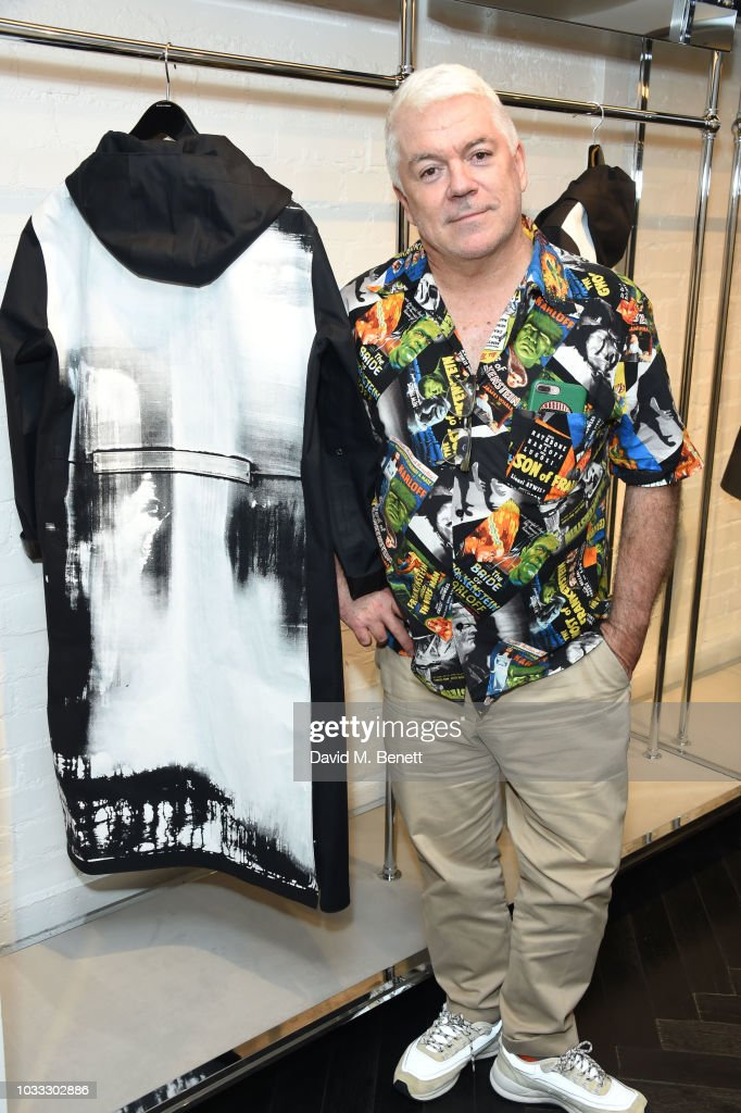 Tim Blanks attends the launch of the Nick Knight x Alyx Mackintosh limited edition coat during London Fashion Week September 2018 at the Mackintosh boutique on September 14, 2018 in London, England.