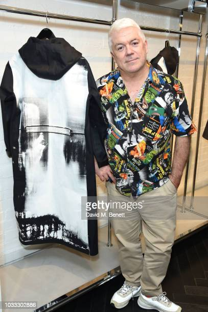 Tim Blanks attends the launch of the Nick Knight x Alyx Mackintosh limited edition coat during London Fashion Week September 2018 at the Mackintosh...