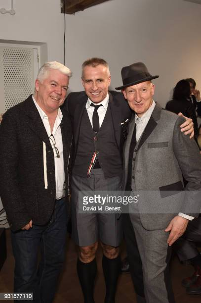 Tim Blanks Thom Browne and Stephen Jones attend Thom Browne In Conversation with Sarabande The Lee Alexander McQueen Foundation on March 13 2018 in...