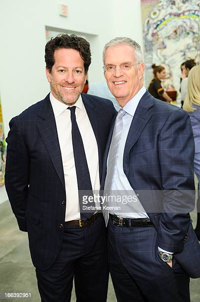 Tim Blum and David Gersh attend Takashi Murakami Private Preview And Dinner At Blum Poe on April 11 2013 in Los Angeles California