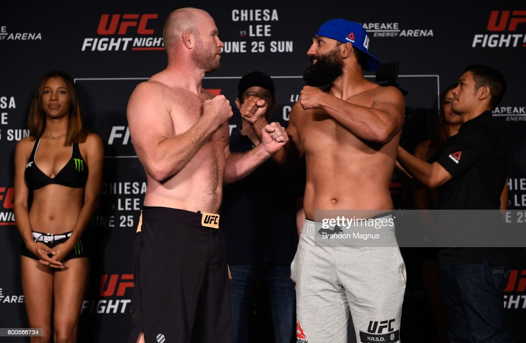Tim Boetsch and Johny Hendricks face off during the UFC Fight Night weigh-in on June 24, 2017 in Oklahoma City, Oklahoma.
