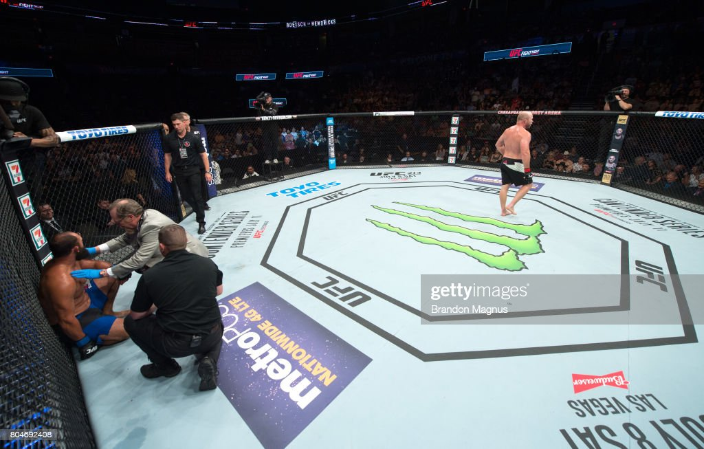 Tim Boetsch celebrates his victory over Johny Hendricks in their middleweight bout during the UFC Fight Night event at the Chesapeake Energy Arena on June 25, 2017 in Oklahoma City, Oklahoma.