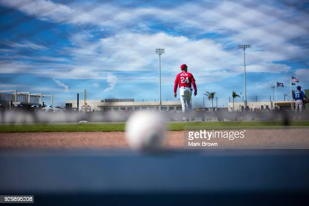 Tim Bogar of the Washington Nationals walks on the field during spring training game between the Washington Nationals and New York Mets at FITTEAM...