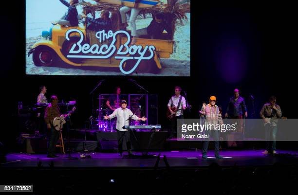 Tim Bonhomme, Jeff Foskett, John Cowsill, Bruce Johnston, Brian Eichenberger, Mike Love, Randy Leago and Scott Totten of The Beach Boys perform in...