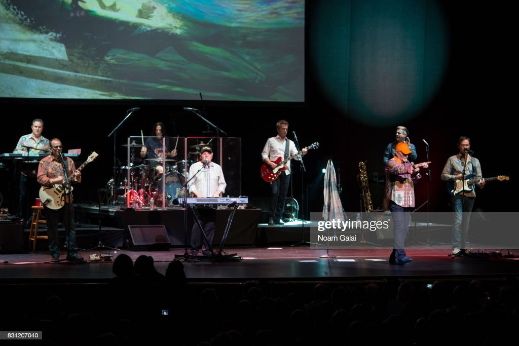 Tim Bonhomme, Jeff Foskett, John Cowsill, Bruce Johnston, Brian Eichenberger, Mike Love, Randy Leago and Scott Totten of The Beach Boys perform in concert at The Beacon Theatre on August 17, 2017 in New York City.
