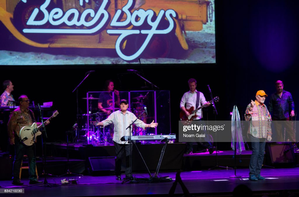 Tim Bonhomme, Jeff Foskett, John Cowsill, Bruce Johnston, Brian Eichenberger, Mike Love and Randy Leago of The Beach Boys perform in concert at The Beacon Theatre on August 17, 2017 in New York City.