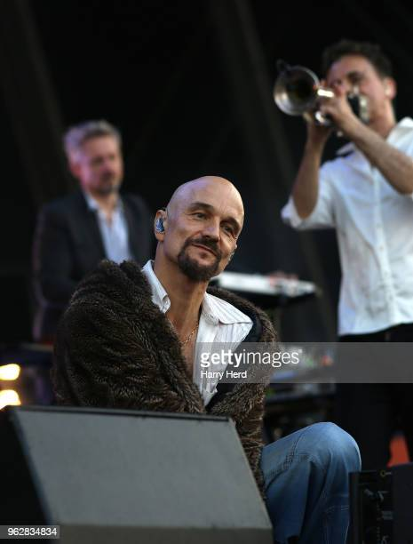 Tim Booth and Mark Hunter and Andy Diagram of James perform at Common People Festival on Southampton Common on May 26 2018 in Southampton England