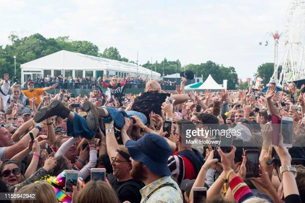 Tim Booth of James crowd surfing at Isle of Wight Festival 2019 at Seaclose Park on June 14 2019 in Newport Isle of Wight