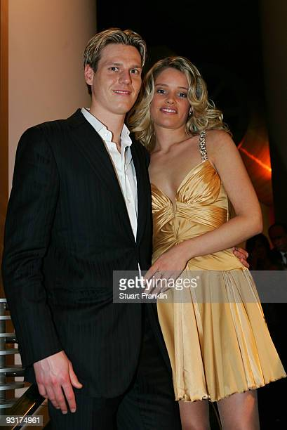Tim Borowski and Lena Muehlbacher pose during the Werder Bremen Green White Night 2006 on February 4 2006 at The Congress Centre in Bremen Germany