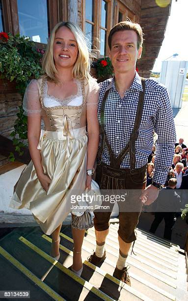 Tim Borowski of Bayern Muenchen and his wife Lena arrive at the Kaefer beer tent during the Oktoberfest beer festival on October 5 2008 in Munich...