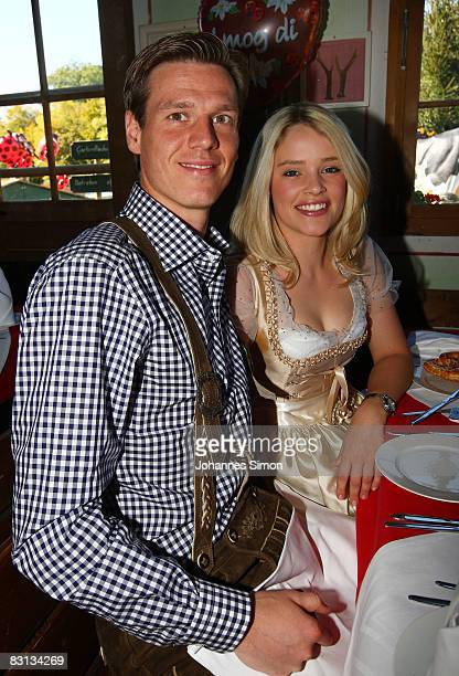 Tim Borowski of Bayern Muenchen and his wife Lena attend the Kaefer beer tent at the Oktoberfest beer festival on October 5 2008 in Munich Germany