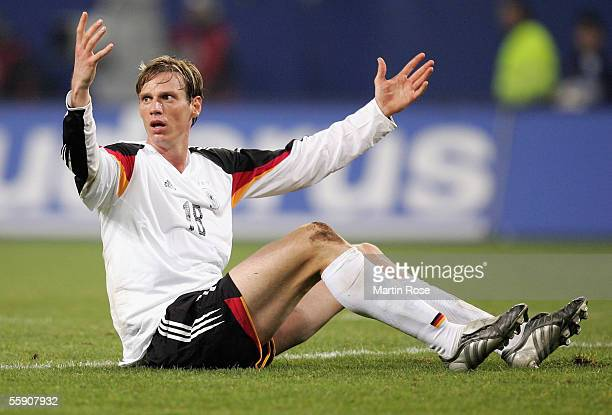 Tim Borowski of Germany gestures during the friendly game between Germany and China at the AOL Arena on October 12, 2005 in Hamburg, Germany.