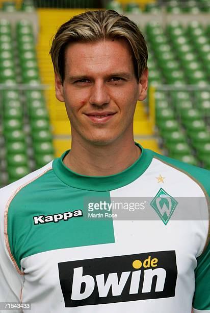 Tim Borowski poses during the Bundesliga 1st Team Presentation of SV Werder Bremen at the Weser Stadium on July 29 2006 in Bremen Germany