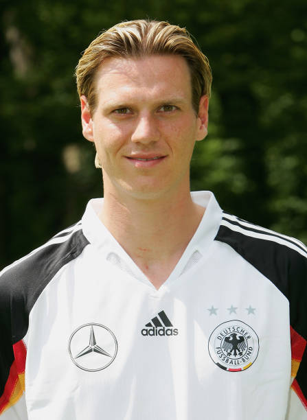 e8d941b96f8 Tim Borowski poses during the photoshoot of the German National Football  Team on June 1
