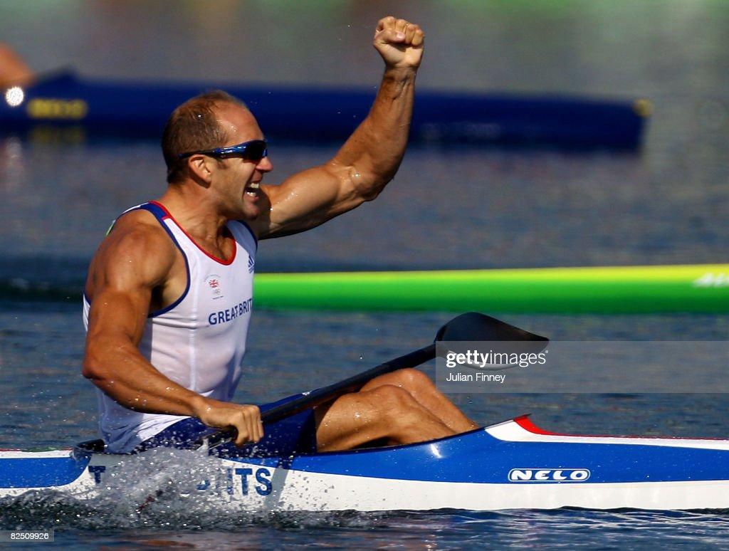 Tim Brabants Of Great Britain Celebrates Winning The Gold Medal In Mens Flatwater Kayak Single
