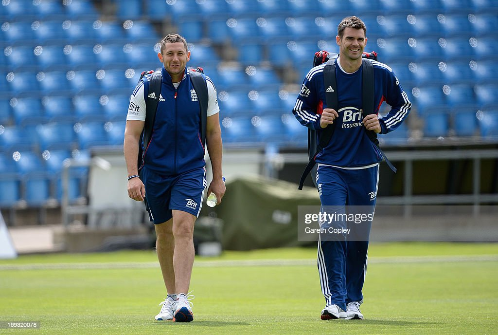 Tim Bresnan and James Anderson of England walks from the indoor school after a nets session at Headingley on May 23, 2013 in Leeds, England.