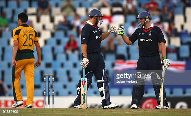 Tim Bresnan and Luke Wright of England touch gloves during The 1st ICC Champions Trophy Semi Final between England and Auustralia at Supersport Park...