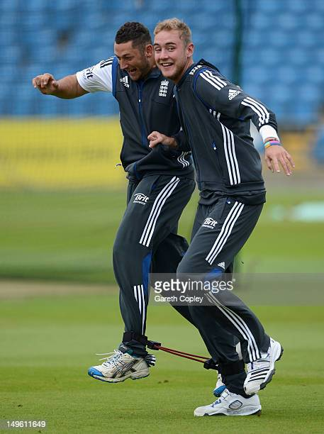 Tim Bresnan and Stuart Broad of England take part in a three legged race during a nets session at Headingley on August 1 2012 in Leeds England