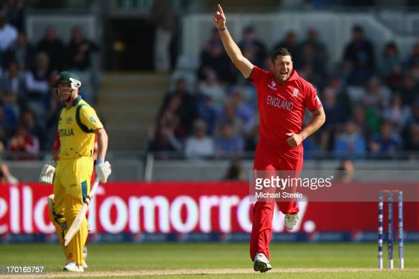 Tim Bresnan of England celebrates bowling Adam Voges of Australia during the Group A ICC Champions Trophy match between England and Australia at...