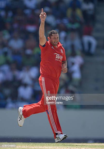 Tim Bresnan of England celebrates dismissing Denesh Ramdin of the West Indies during the 2nd One Day International between the West Indies and...