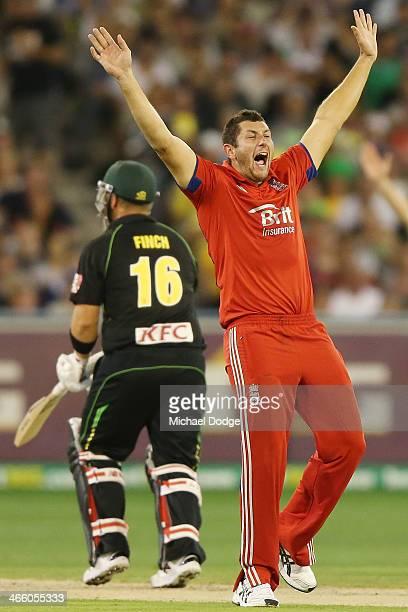 Tim Bresnan of England celebrates his dismissal of Aaron Finch of Australia during game two of the International Twenty20 series between Australia...