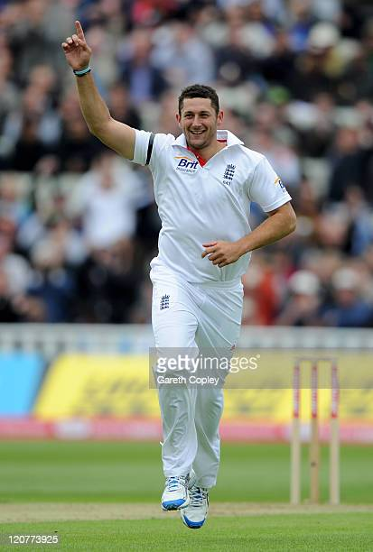 Tim Bresnan of England celebrates taking the wicket of Rahul Dravid of India during day one of the 3rd npower Test at Edgbaston on August 10 2011 in...