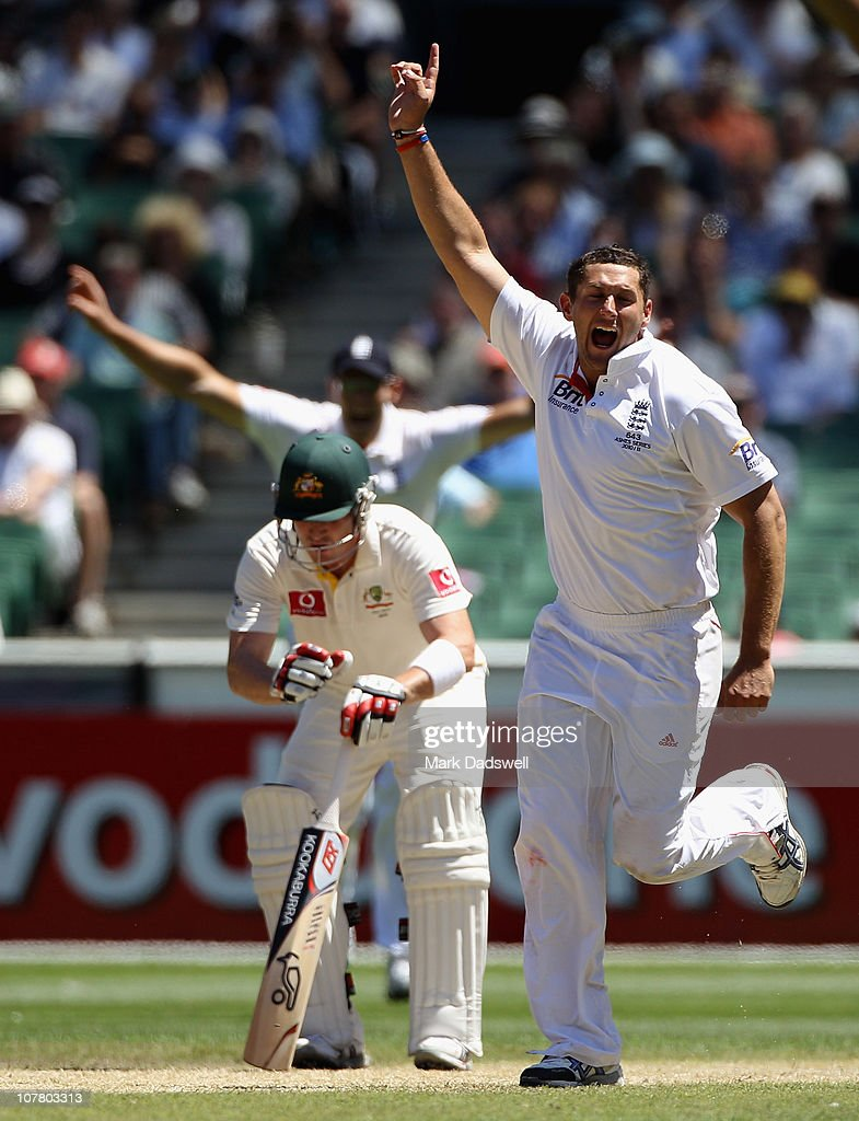 Tim Bresnan of England celebrates the final wicket day four of the Fourth Test match between Australia and England at the Melbourne Cricket Ground on December 29, 2010 in Melbourne, Australia.