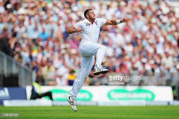 Tim Bresnan of England celebrates the wicket of Shane Watson of Australia during day one of the 3rd Investec Ashes Test match between England and...