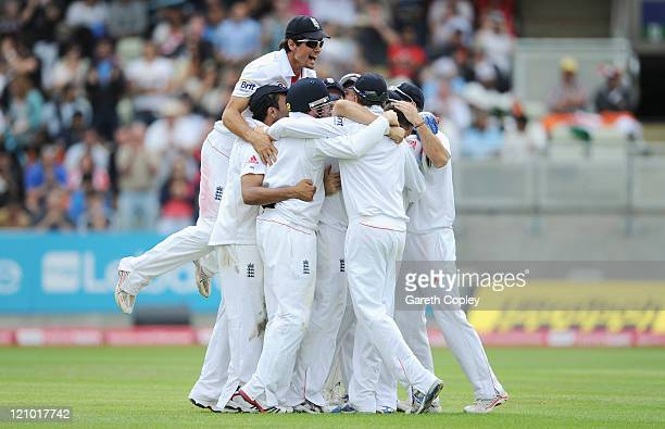 Tim Bresnan of England celebrates with teammates after dismissing Sreesanth to win the 3rd npower test between England and India at Edgbaston on...