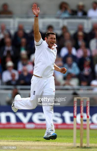 Tim Bresnan of England claims the wicket of Praveen Kumar of India during day one of the 3rd npower Test at Edgbaston on August 10 2011 in Birmingham...