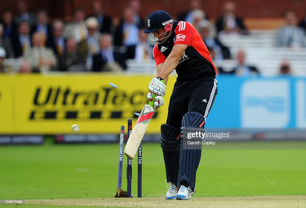 Tim Bresnan of England is bowled by RP Singh of India during the 4th Natwest One Day International match between England and India at Lord's Cricket Ground on September 11, 2011 in London, United Kingdom.