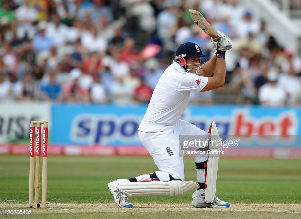 Tim Bresnan of England smashes the ball to the boundary during the second npower Test match between England and India at Trent Bridge on August 1...