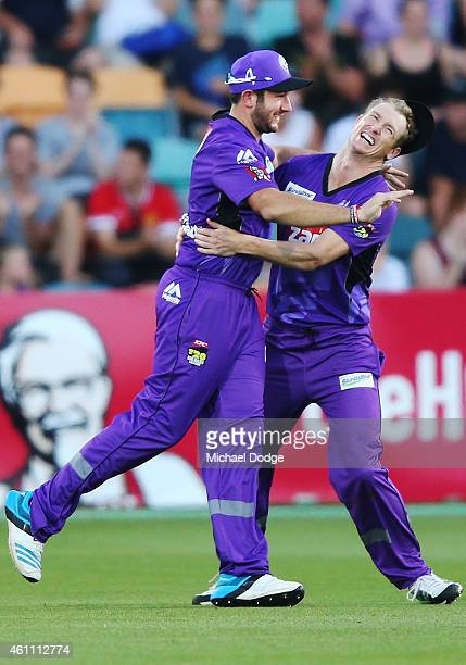 Tim Bresnan of the Hurricanes celebrates a catch to dismiss with George Bailey Callum Ferguson of the Renegades during the Big Bash League match...