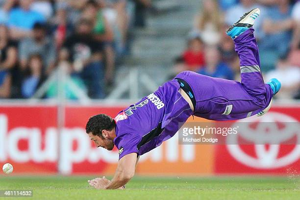 Tim Bresnan of the Hurricanes fails to catch the ball off his own bowling during the Big Bash League match between the Hobart Hurricanes and the...