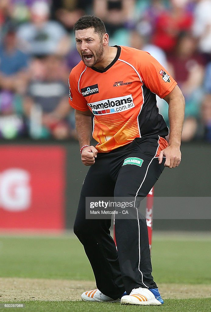 Tim Bresnan of the Scorchers celebrates taking the wicket of D'Arcy Short of the Hurricanes during the Big Bash League match between the Hobart Hurricanes and the Perth Scorchers at Blundstone Arena on January 21, 2017 in Hobart, Australia.