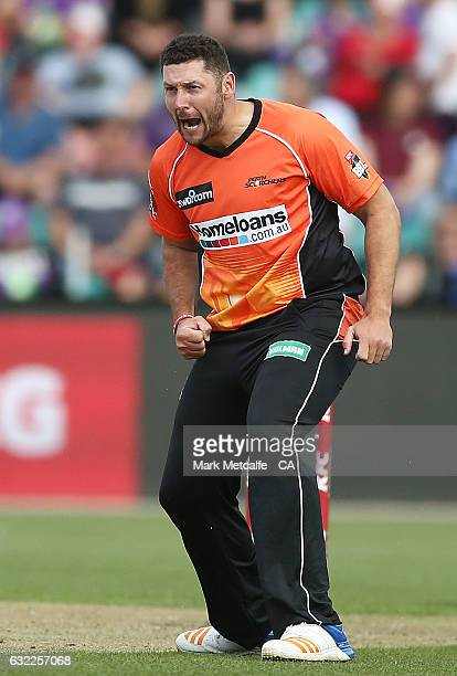 Tim Bresnan of the Scorchers celebrates taking the wicket of D'Arcy Short of the Hurricanes during the Big Bash League match between the Hobart...